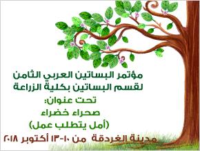 تنظيم مؤتمر البساتين العربي الثامن لقسم البساتين بكلية الزراعة بمدينة الغردقة