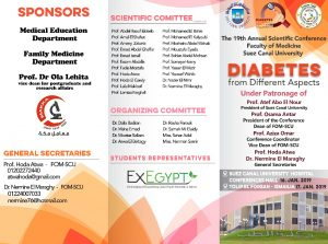 "The 19 th Annual Scientific Conference   Faculty of Medicine, Suez Canal University ""Diabetes from different Aspects"""
