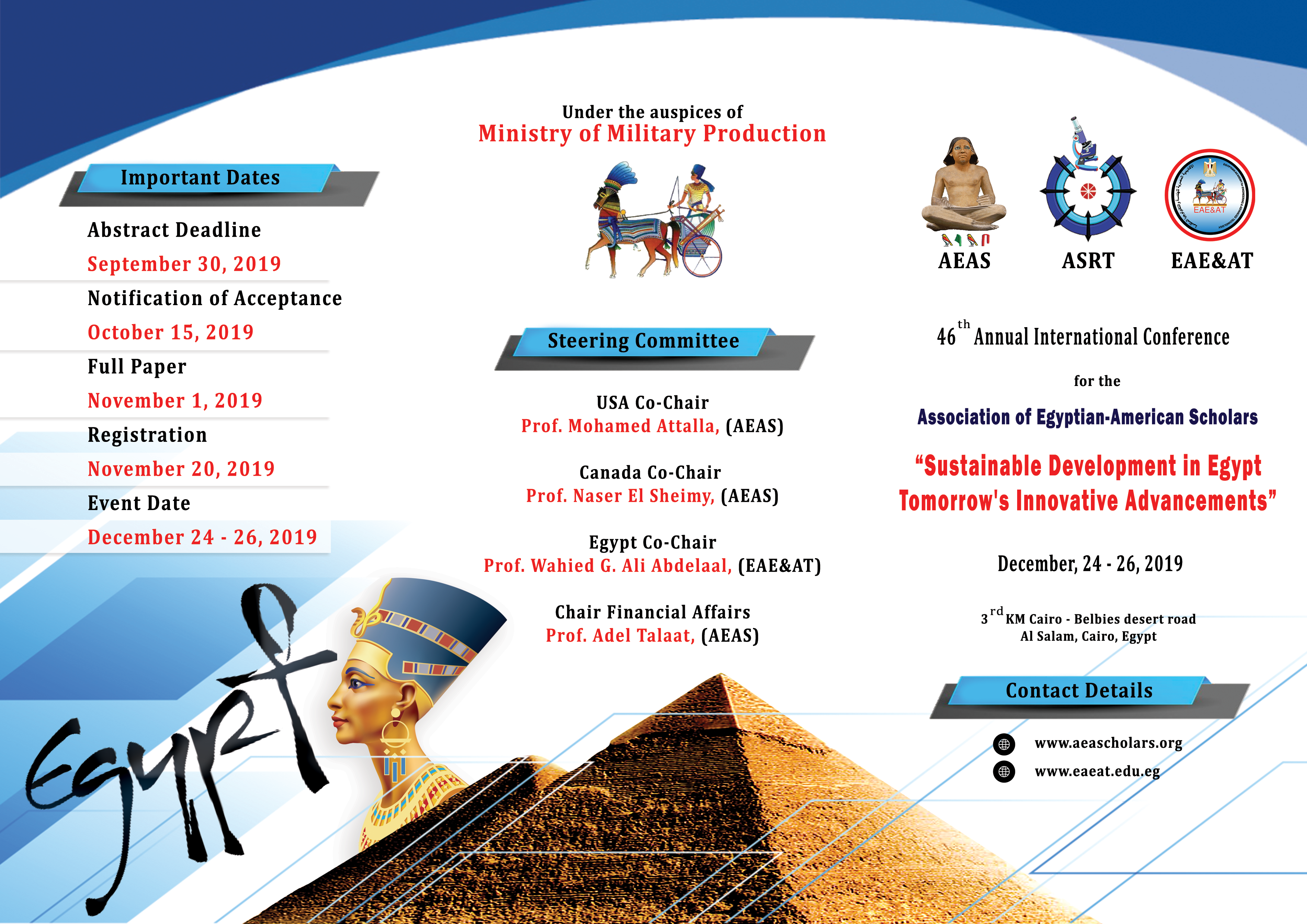 """46th Annual International Conference for the Association of Egyptian –American Scholars  """"Sustainable Development in Egypt Tomorrow's Innovative Advancement """""""