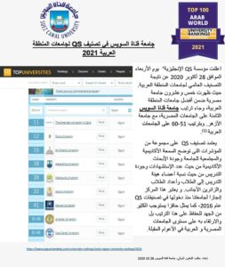 A new achievement for Suez Canal University with QS Arab Region University Rankings 2020